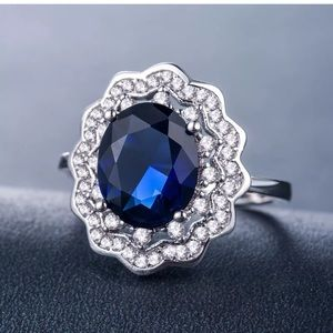 Gorgeous Oval Cut Blue Sapphire Wedding Ring S